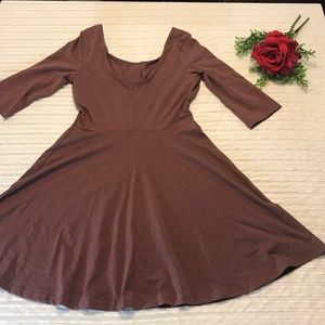Express Women's Fit and Flare Dress Purple Size M